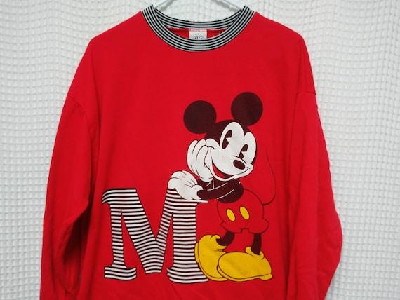 Vintage Retro 1980's Mickey Mouse Bright Red Sweatshirt sKu009r