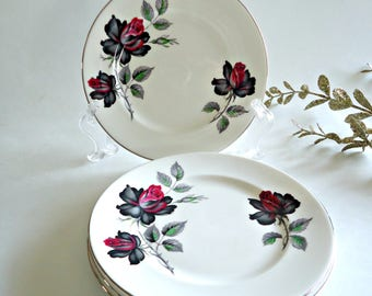 4 Royal Albert Bread & Butter Plates Masquerade Side Plate Black Rose