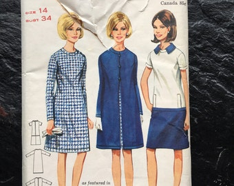 Vintage 1960s A-Line Dress & Coat Pattern // Butterick 4296 > Size 14 > As Featured in Glamour Magazine