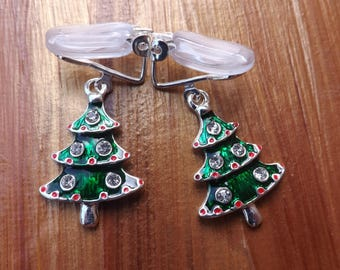 Clip-on Christmas tree earrings, clipon earrings, clip on Christmas earrings, Clip-on Xmas earrings, unpierced earrings, non-pierced earring