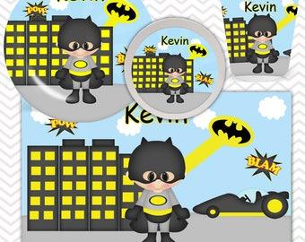 Batman Plate, Bowl, Cup, Placemat - Personalized Super Hero Dinnerware for Kids - Custom Tableware