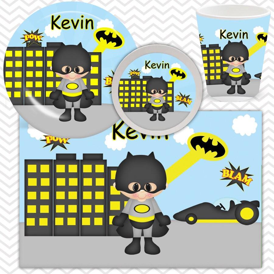 Batman Plate Bowl Cup Placemat - Personalized Super Hero Dinnerware for Kids - Custom Tableware  sc 1 st  sharenmoments & Batman Plate Bowl Cup Placemat - Personalized Super Hero ...
