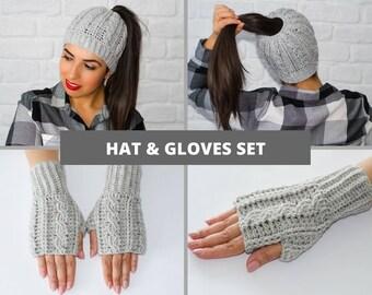 Hat and glove set, hat and mitten set, ponytail hat, messy bun hat, fingerless gloves, fingerless mittens, knitted gloves, womens beanies