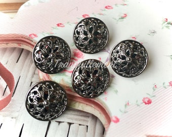 5 Small Retro Vintage Style Gunmetal Dark Silver Floral Flower Military Jacket Coat Sweater Metal Button 0.8 Inches / 2 cm