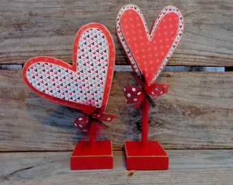 Valentines Decor- Valentines Gift- Heart decor- Set of 2 Red Hearts on stands