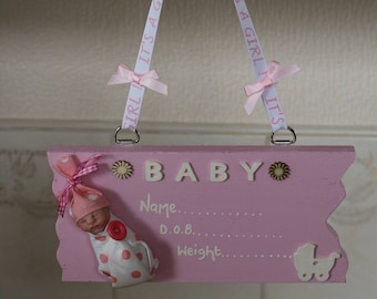 Baby girl plaque with Ooak clay baby