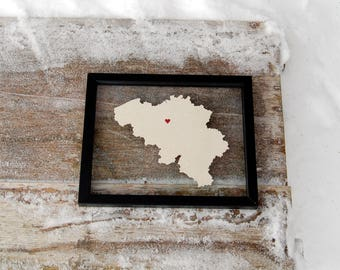 BELGIUM LOVE 8x10 Map Gift * Custom Framed Handmade Canvas Art * Moving Birthday Wedding Anniversary Graduation Engagement