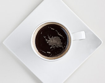 """Coffee cup print Original signed fine art photography 6x6 """" Kitchen art Food art Espresso cup in early morning Dining room wall art"""