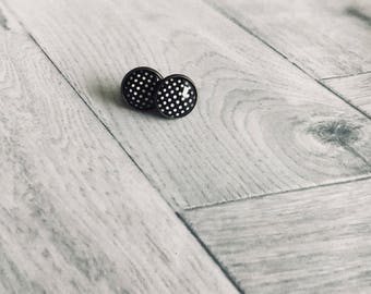 Black cabochon with white dots Stud Earrings