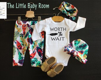 Baby Girl Boy Coming Home Set,Worth The Wait,Personalized Onesie,Leggings and headband,Baby Hat,Feathers,Go Home Set,Hospital,Shower Gift