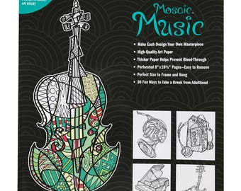 Mosaic Music Adult Coloring Book 8x10