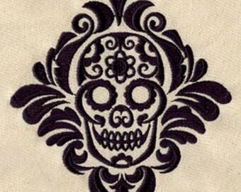 Damask Calavera Embroidered Flour Sack Hand/Dish Towel