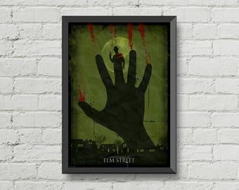 A nightmare on elm street poster,Freddy krueger,digital print,horror,movie poster,scary,gothic,art,horror poster,wall art,man cave poster