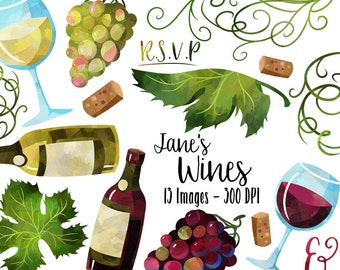Watercolor Wine Clipart - Grapes Download - Instant Download - Wine Glass - Wine Bottle - Cork - French Culture