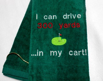 Golf Towel, Embroidered Golf, 300 Yd Drive, Golf Driver, Gift for Him, Premium Cotton, Tri-Fold Towel, Fun Golf Gift, Custom Golf, Dad Gift