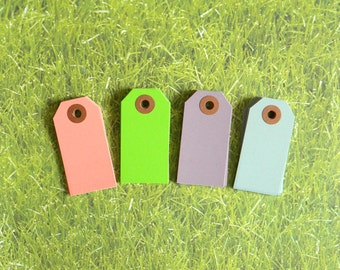 "Set Of 24, Spring Mix Parcel Tags, 2 3/4"" x 1-3/8"" Pastel Spring Colors Hang Tags, Kraft Reinforced Holes, Shipping Tag, No. 1,"