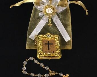 12 Mini Bibles Holy Sacrament First Communion Favor Personalized Recuerdo De Primera Comunion  Recuerdo Gold Organza Personalizado