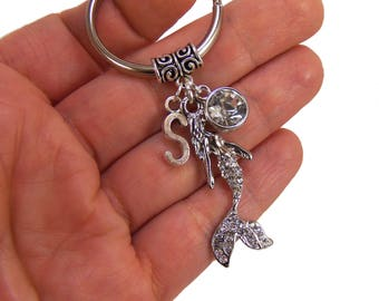 Mermaid keychain,  mermaid bridal shower favors, custom bridesmaid gift, personalized gifts for bridesmaids, wedding favor, silver mermaid