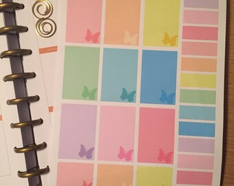 Happy Planner Decorative Boxes in Pastel Rainbow with silhouette