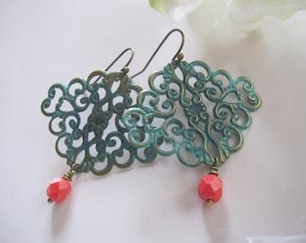Blue Patina Filigree Earrings, Coral Bohemian Dangles, Turquoise Blue Patina, Bridesmaid Earrings, Gardendiva