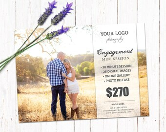 Gift certificate template newborn session photography gift engagement session template mini session photography board marketing advertising template fully editable yadclub Images