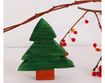 Wooden pine tree, wooden toy tree