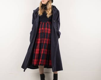 AMAZING Vintage Blue Trench Coat with Hoodie and Detachable Lining / S / hipster jacket coat womens outerwear overcoat oversized coat