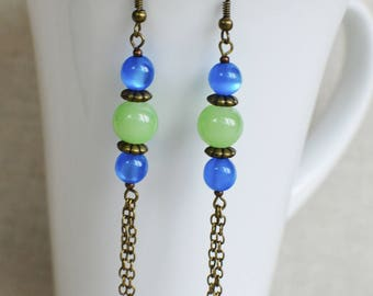 Earrings in brass and lime green and electric blue beads Bohemian long tassel