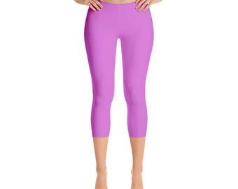 Capris Orchid Leggings, Mid Rise Waist Workout Pants for Women, Yoga Leggings