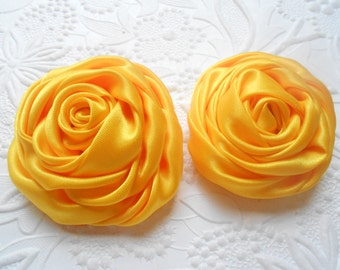 "Multilayer Satin Rolled Rose, Yellow  2"" Satin Rosette, Wholesale Flower, Headband Rose Buds, 4cm Floral Embellishment,"