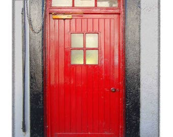 Old Red Door in Historic Ireland