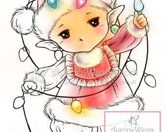 Digital Stamp - Christmas Lights Sprite - Whimsical Holiday Image - Fantasy Line Art for Cards & Crafts by Mitzi Sato-Wiuff