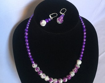 Purple Textured Necklace with Earrings - 20in