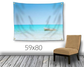 Coastal Wall Hanging-Island Wall Decor-Water Tapestry-Fine Art Tapestry-Outdoor Tapestry-Ocean Tapestry-Beach Wall Decor-Boat Tapestry