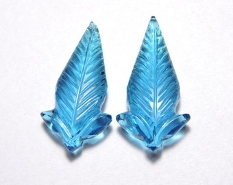 2 Pieces Very Attractive London Blue Quartz Hand Carved Leaves Loose Gemstone Size 30X15 MM