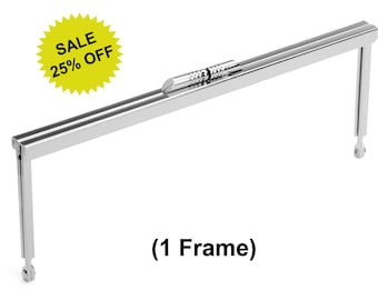 """1pc - 8"""" x 3"""" Nickel Purse Frame with Modern Style Clasp - Free Shipping (PURSE FRAME FRM-116)"""