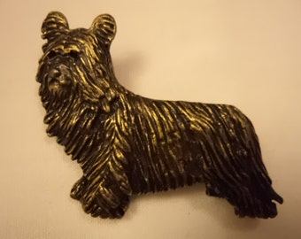 Vintage Unsigned Bronzetone Long Haired Yorkie Brooch/Pin