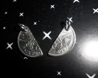 love token or birthday gift split lucky silver British sixpence coin charm silver anniversary gift Valentine Gift