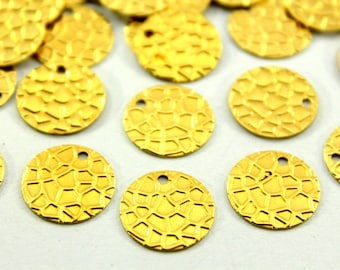 50 pcs 13 mm Raw Brass Round Charms