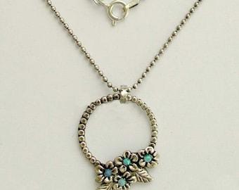 Blue opal stones necklace, Flower necklace, Sterling silver necklace,  floral botanical necklace, floral pendant -  Winds of change N4627A