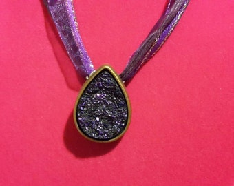 Purple lace and stone necklace