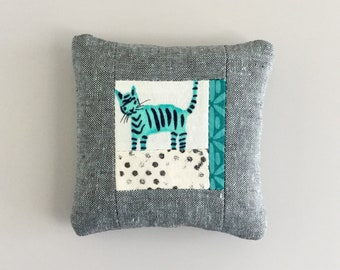 Linen Pincushion Tiger Pin Cushion Teal Aqua Stuffed with Walnut Shells