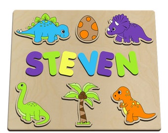 Dinosaur Personalized Wooden Name Puzzle Dinosaurs, Egg, Coconut Tree EASTER SALE id237393341