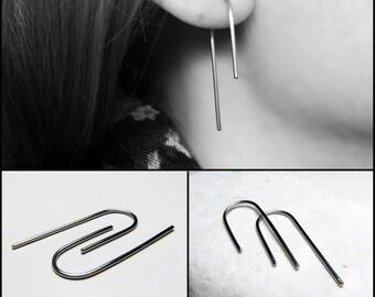 Arc hoop earrings - Steel horseshoe earrings - Asymmetric hoops - Steel bar earrings - Threader line - Women gift For her