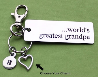 Personalized Grandpa Key World's Greatest Grandpa Stainless Steel Customized with Your Charm & Initial - K870