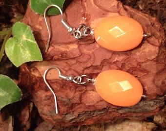 Orange Dangle Earrings, Fishhook Earrings, Simply Cute Collection
