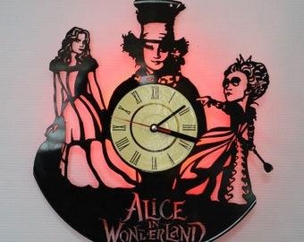 Alice in Wonderland home decor, Alice in Wonderland red led night light, Alice in Wonderland wall clock, Alice in Wonderland led lights