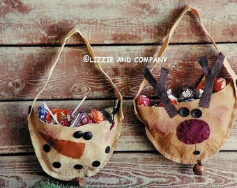 HoLiDaY TreaT BaGs - WooL FeLT SNoWMaN and ReiNDeeR TreaT BaG - PDF ePattern - Primitive and Whimsical