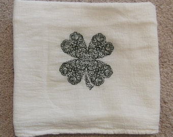 Embroidered ~DELICATE SHAMROCK Clover~ St Patrick's Day Flour Sack Towel