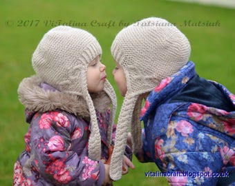 Knitting Pattern - Hearts Queen Earflap Hat (All sizes)